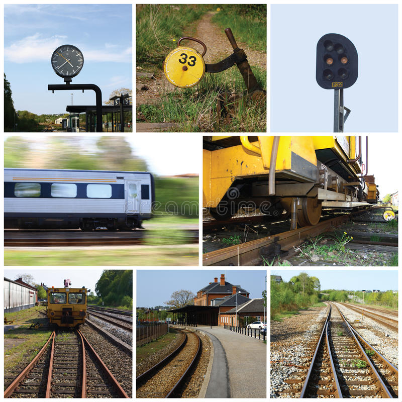 Railroad collage. A collage of railroad related photos royalty free stock photo