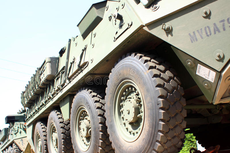 Railroad Convoy of military vehicles. stock images