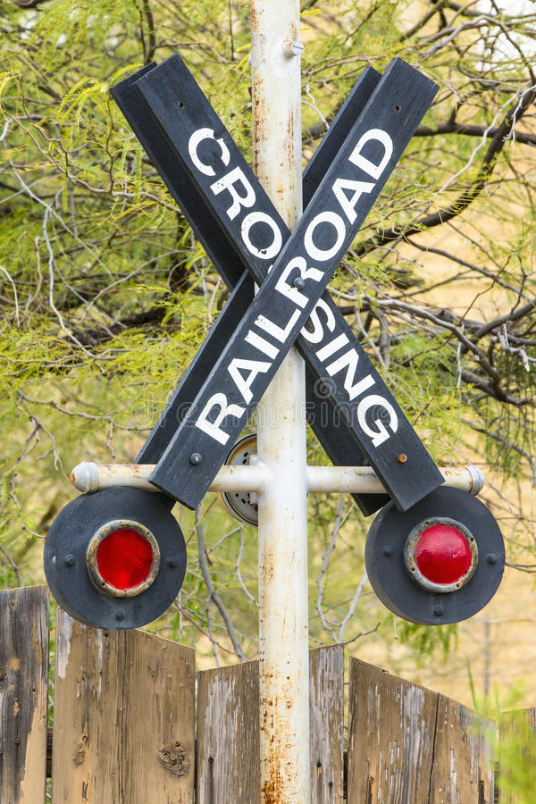 Railroad crossing. By active rail yard royalty free stock photos