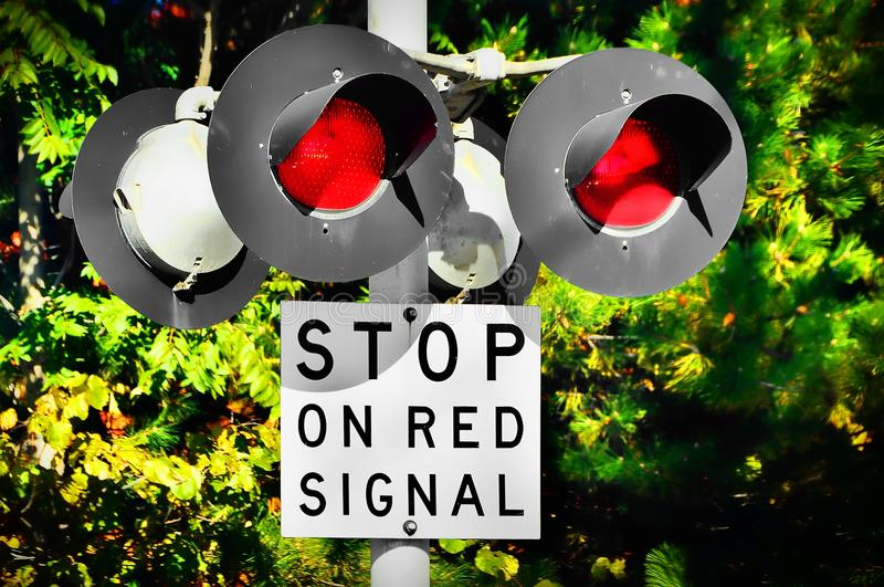 Railroad Crossing Signal stock photo  Image of road, caution