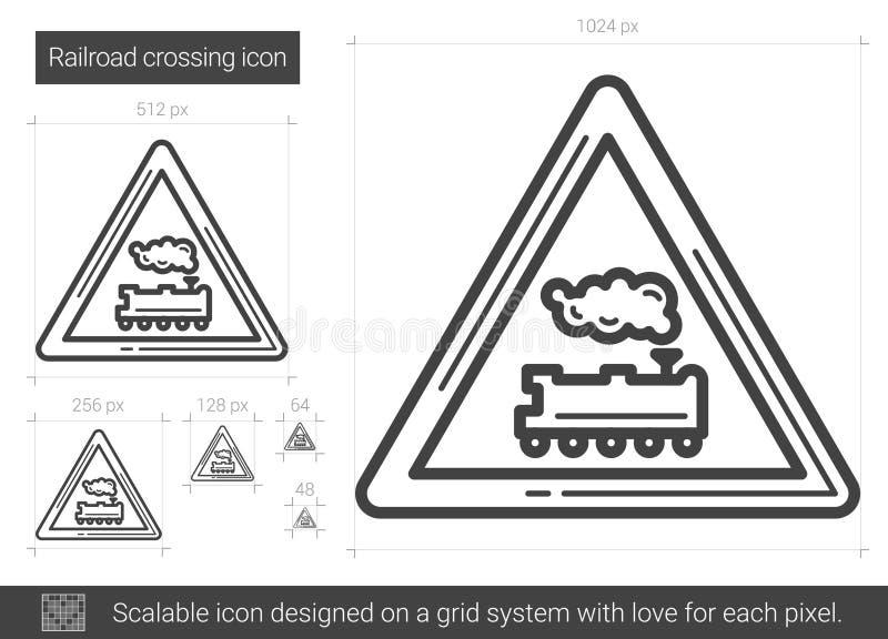 Railroad crossing line icon. vector illustration