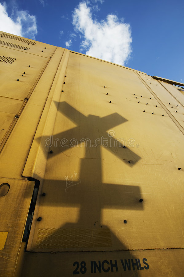 Railroad Crossing Sign Shadow royalty free stock image