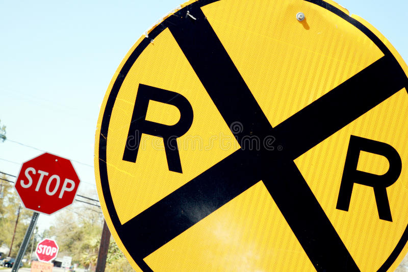 Railroad Crossing Signs stock photo
