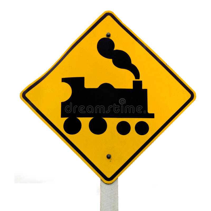 Free Railroad Crossing, Steam Engine Roadsign On White Stock Photos - 24868943