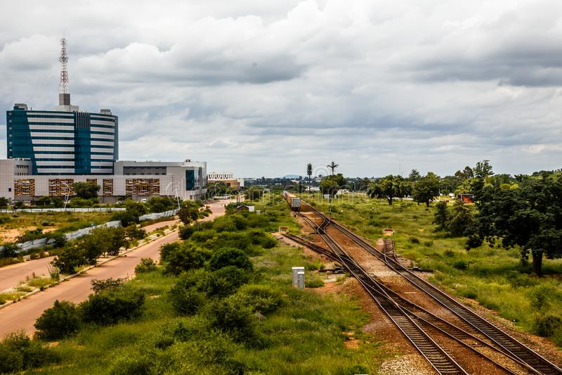 Railroad e distrito financeiro central rapidamente tornando-se, Gabor imagens de stock