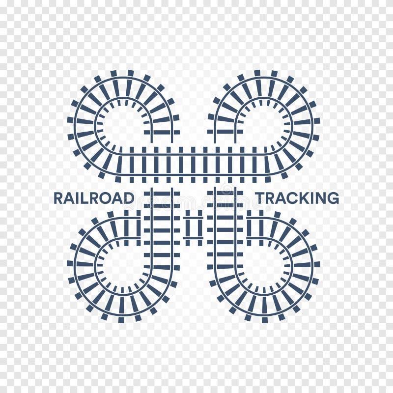 Railroad el seguimiento del empalme de camino con el ejemplo del vector de las vueltas y de los puentes en el fondo transparente  ilustración del vector