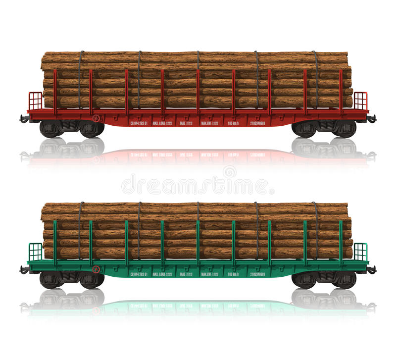 Download Railroad Flatcars With Lumber Stock Illustration - Image: 16907445