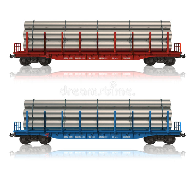 Download Railroad Flatcars With Pipes Stock Illustration - Image: 16907427
