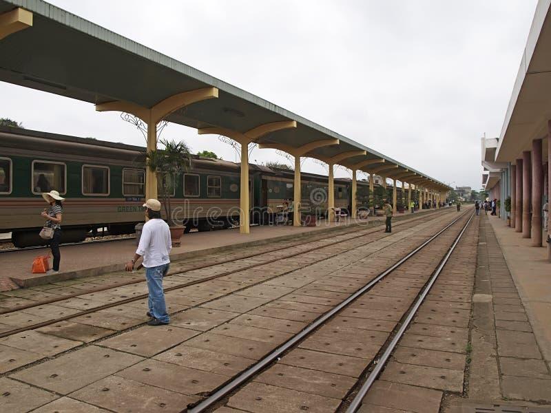 Railroad at Hue city. HUE, VIETNAM - APRIL 05: Railroad on April 05, 2012. Hue city is the heritage city in Vietnam royalty free stock image