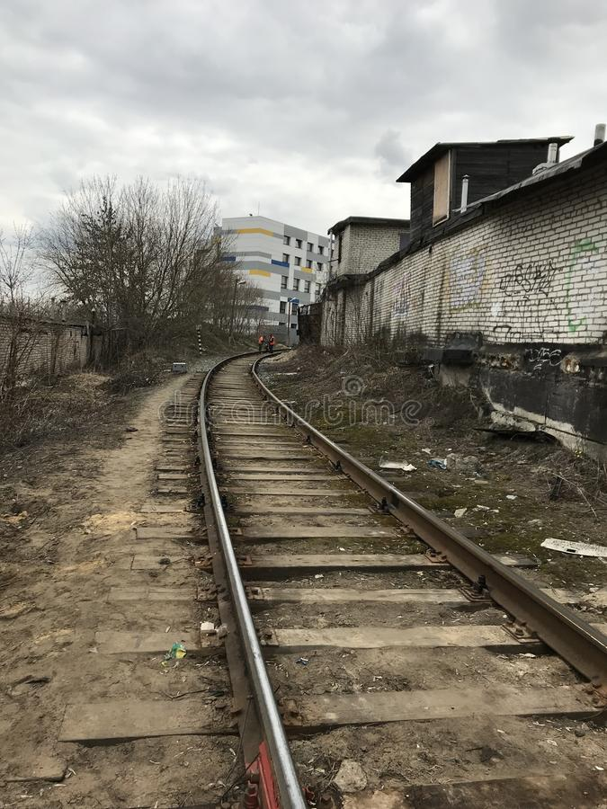 Railroad, industrial zone, devastation, graffiti. non-profitable area of the city.  royalty free stock photos
