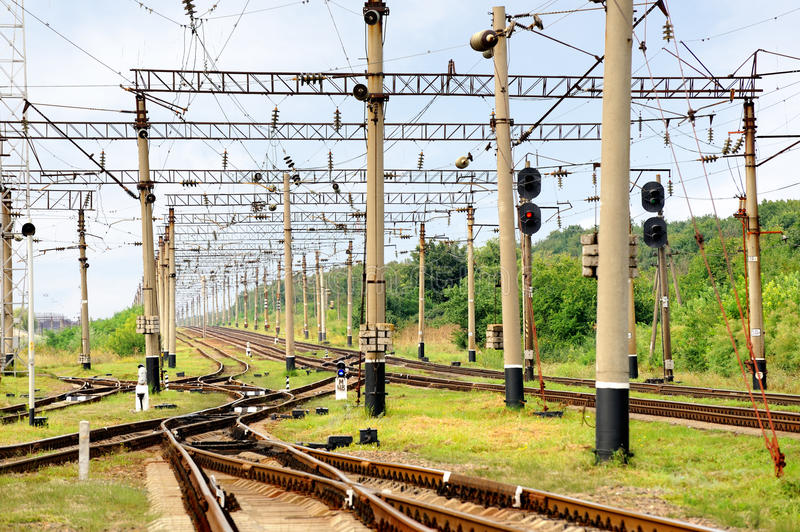 Railroad infrastructure. Photo of summer railroad infrastructure stock photo