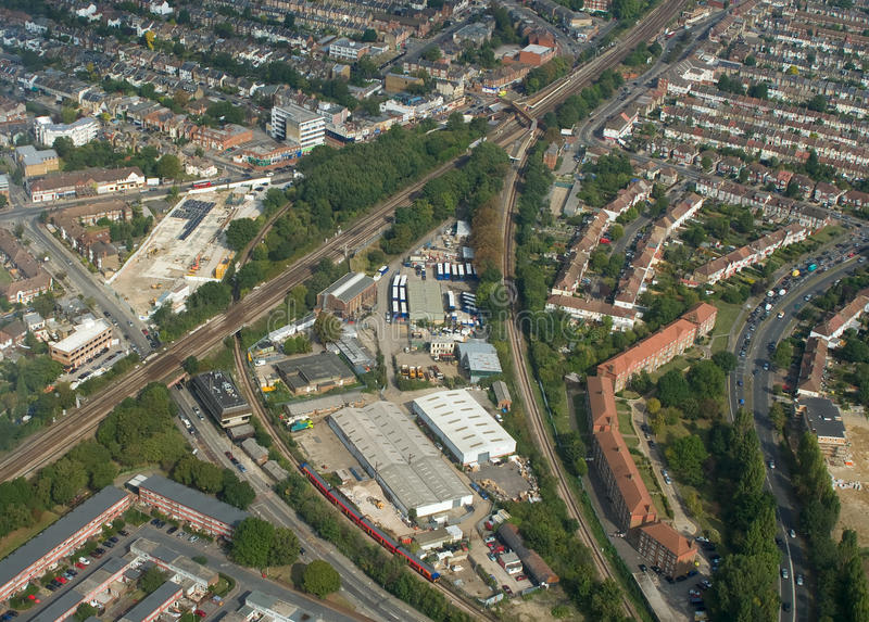 Railroad junction. A railroad junction and station somewhere in Croydon, UK stock photo