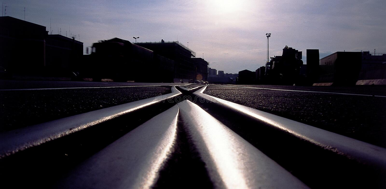 Railroad junction. In back light shot royalty free stock images