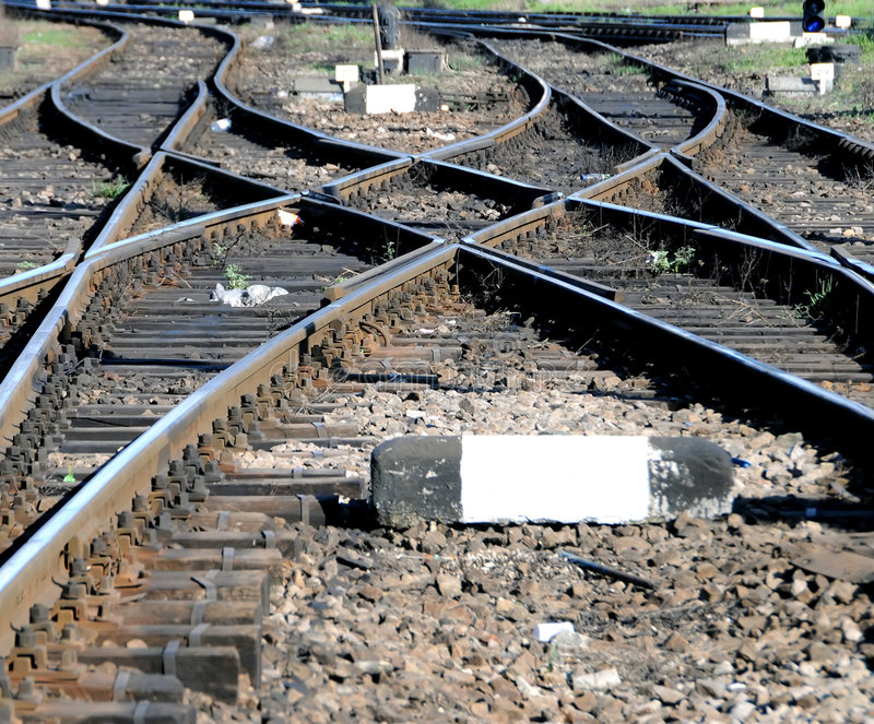 Railroad junction. Several railroads converging royalty free stock photos