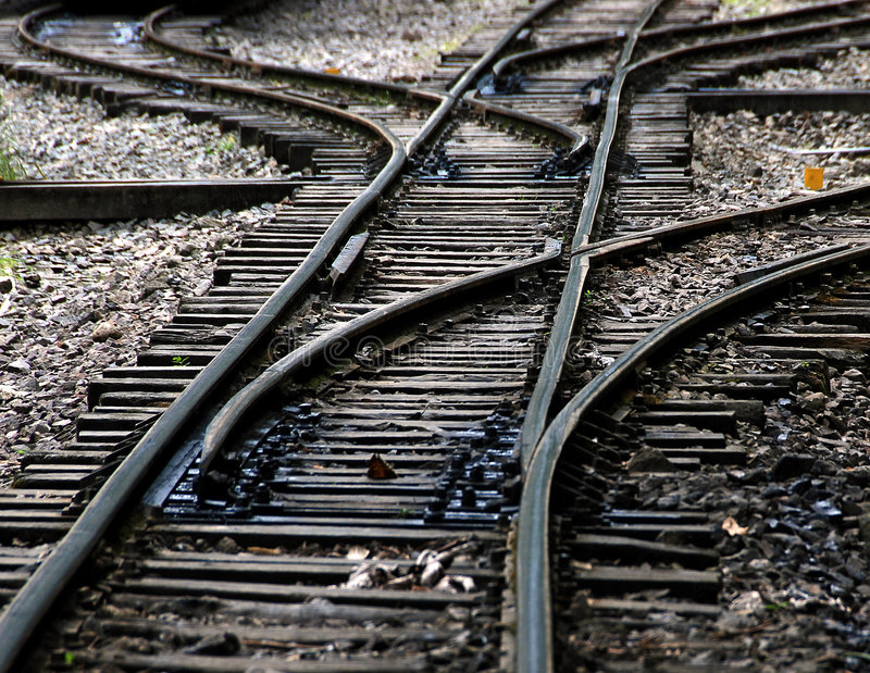 Railroad junction. A train railroad track junction and rails royalty free stock photo