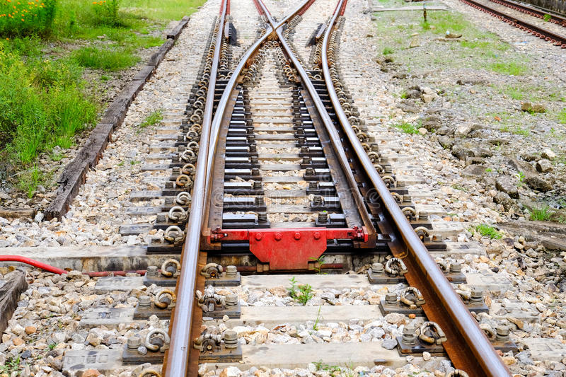 Railroad Junction. Closeup of railroad Junction in Thailand royalty free stock photography