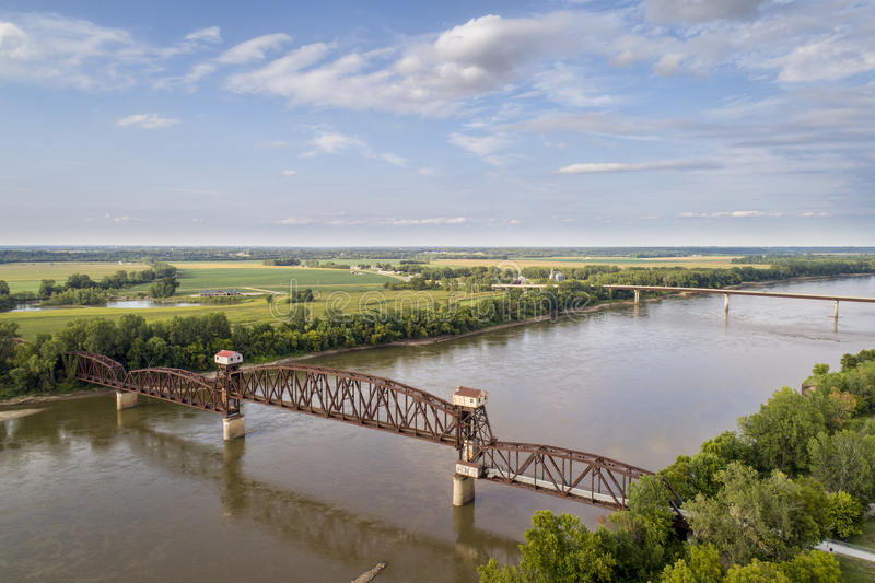 Railroad Katy Bridge at Boonville over Missouri River. Historic railroad Katy Bridge over Missouri River at Boonville with a lifted midsection and visitor stock image