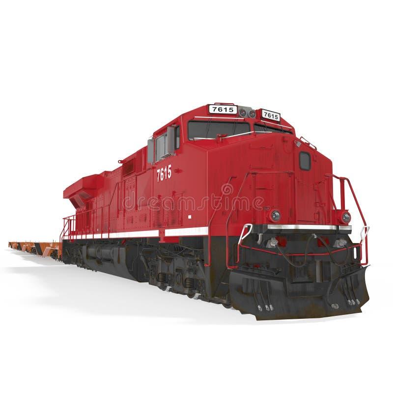 Railroad a locomotiva com os carros lisos resistentes no branco ilustração 3D ilustração royalty free