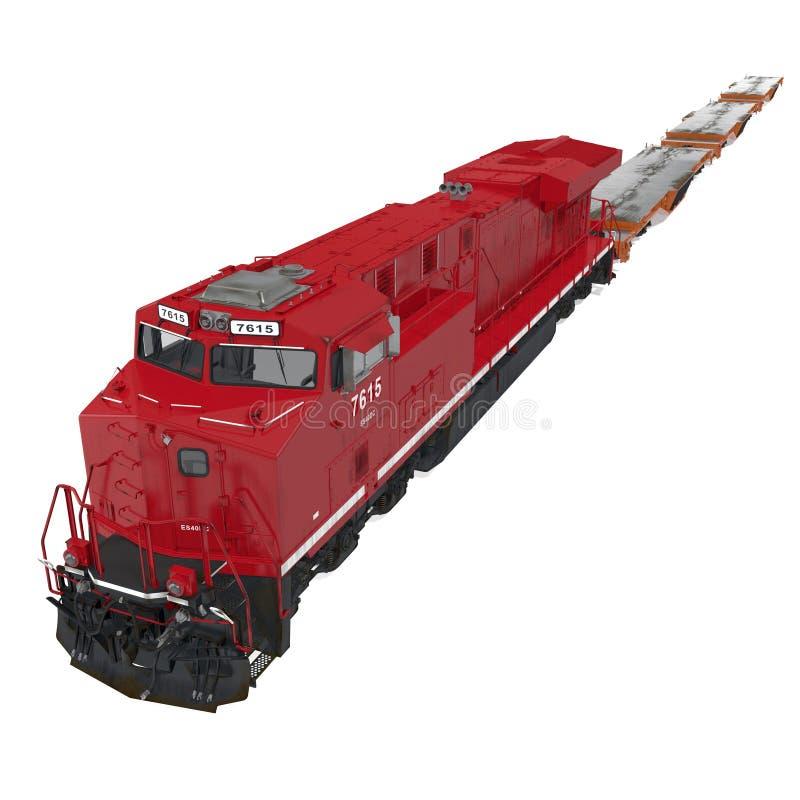 Railroad a locomotiva com os carros lisos resistentes no branco ilustração 3D ilustração do vetor