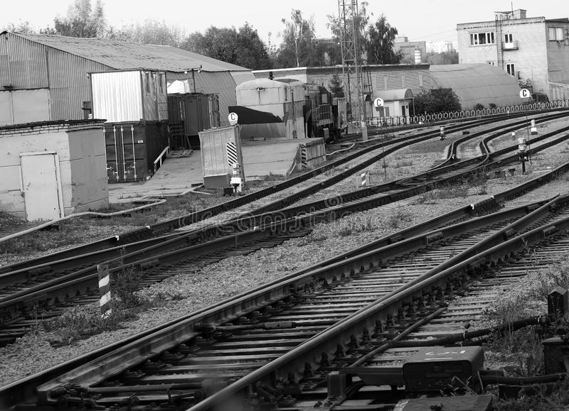 Railroad in Moscow suburbs background. Diagonal orientation spacedrone808 vivid vibrant black white bright rich composition design concept element object shape stock photography