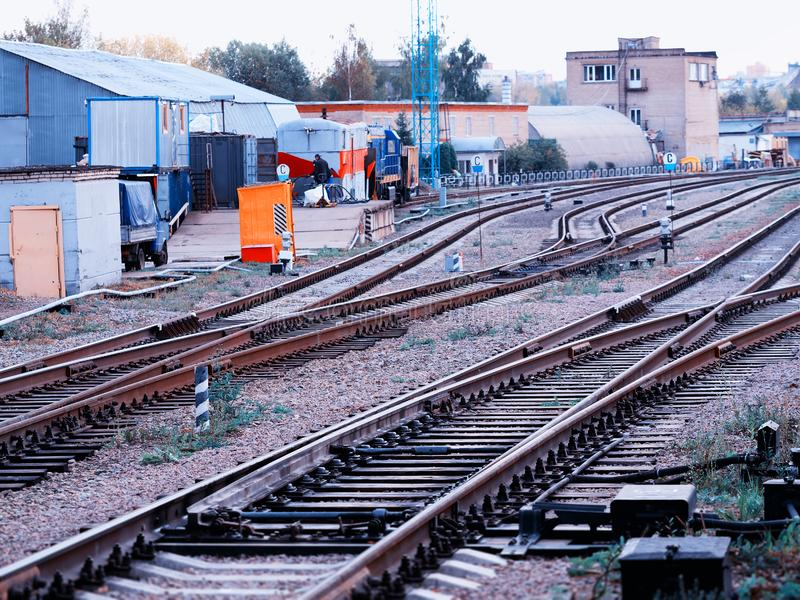 Railroad in Moscow suburbs background. Diagonal orientation vivid vibrant color bright rich composition design spacedrone808 concept element object shape stock images