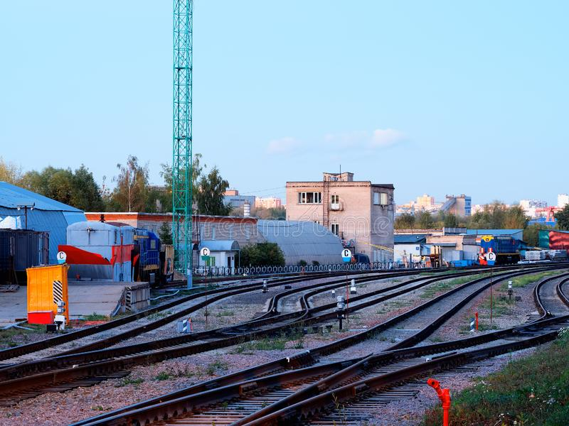 Railroad in Moscow suburbs background. Diagonal orientation vivid vibrant color bright rich composition design spacedrone808 concept element object shape royalty free stock photo
