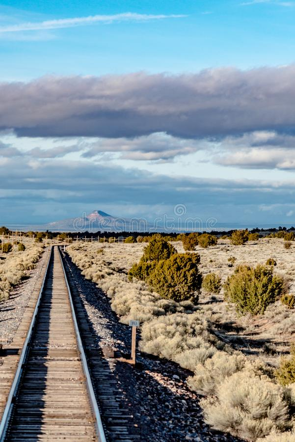 Railroad near route 66 in California stock photography