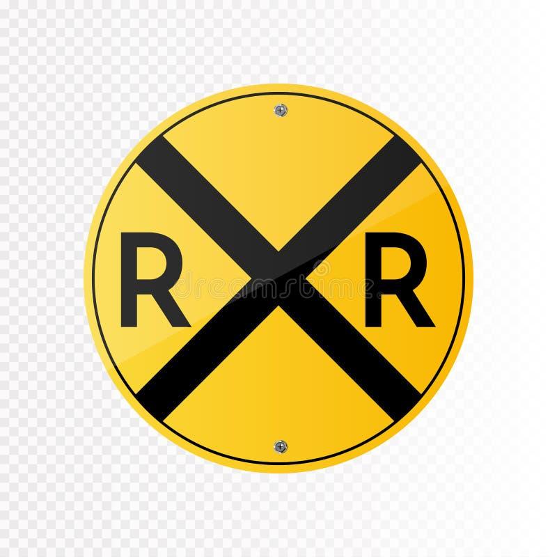 Railroad o sinal de tráfego do cruzamento do vetor isolado no fundo transparente ilustração stock
