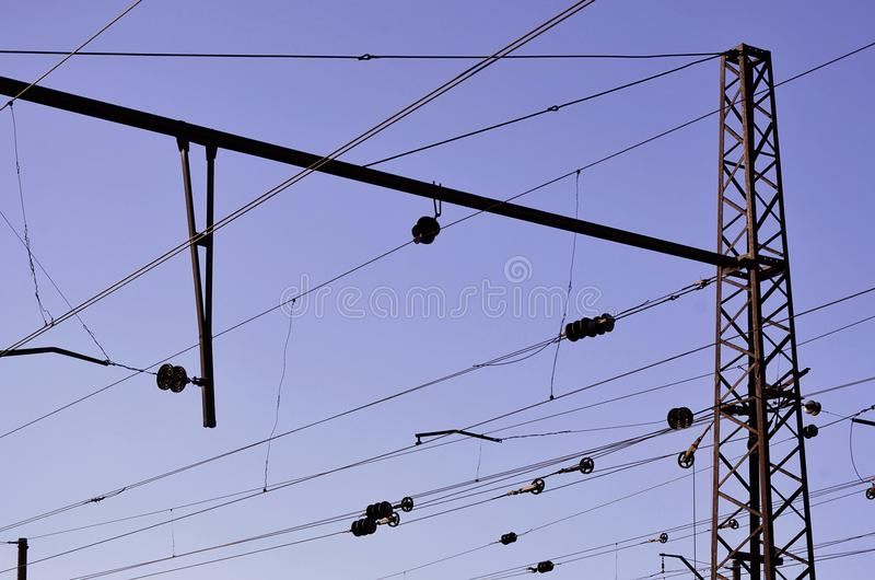 Railroad Overhead Lines Against Clear Blue Sky, Contact Wire. High ...