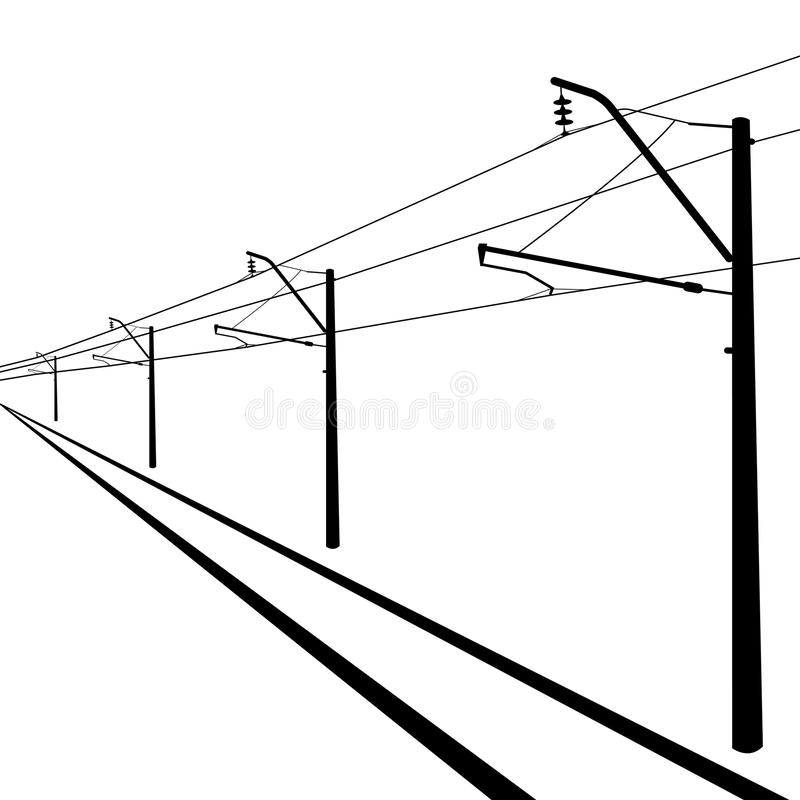 railroad overhead lines  stock vector  illustration of high