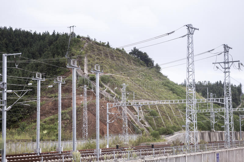 Railroad overhead lines royalty free stock photos