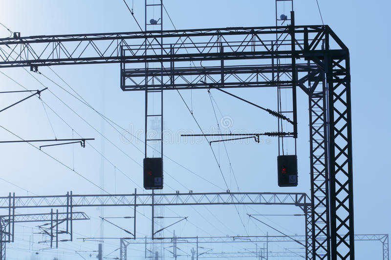 Download Railroad powerlines stock image. Image of foggy, cables - 19392013