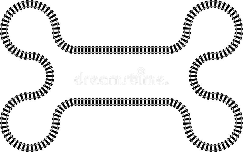 Railroad railway in a continuous wavy pattern stock photos