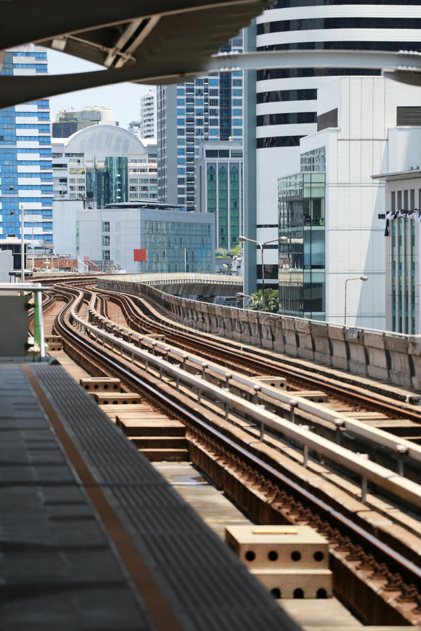 Railroad of sky metro in skyscraper downtown business. royalty free stock images