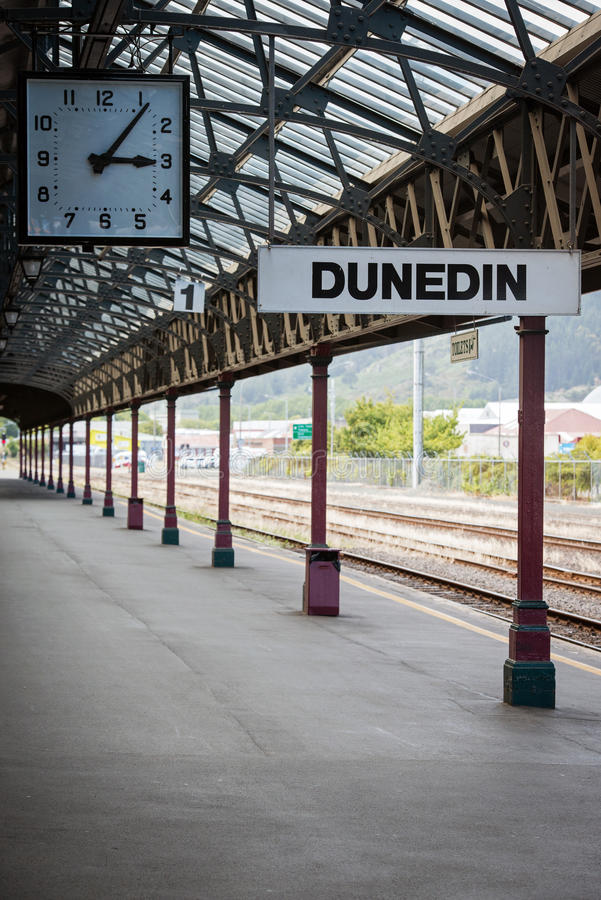 Railroad station in Dunedin, New Zealand stock photography