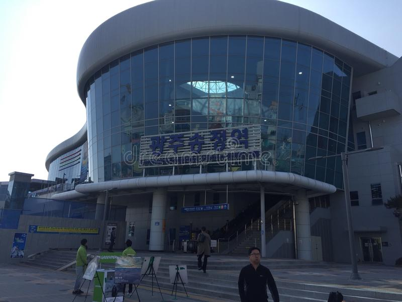 Railroad station in Korea royalty free stock image