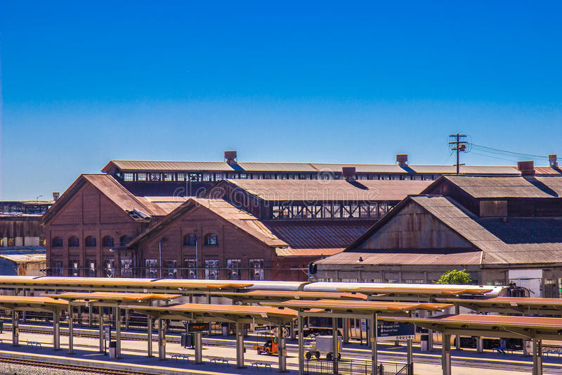 Railroad Station Next To Vintage Railroad Maintenance Yard royalty free stock photography