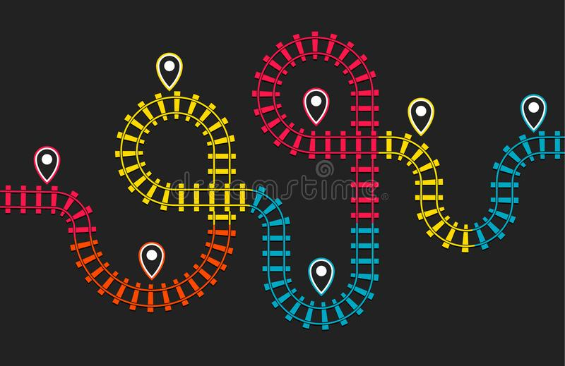 Railroad stations map, railway route, rail track direction, train colorful map on black background, subway top view. Infographic elements, simple vector vector illustration