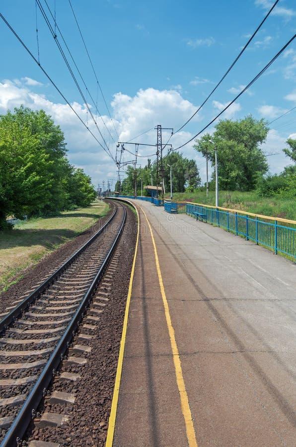 Railroad suburban halt royalty free stock photography