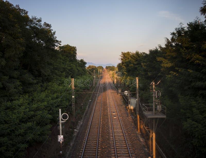 Railroad Sunset stock photo
