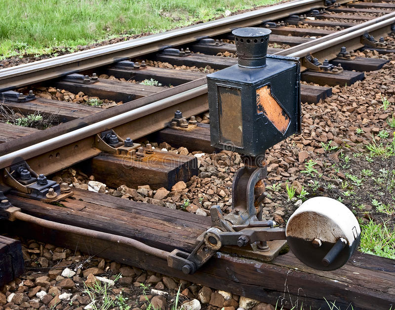 Railroad switch. An old railroad switch on train tracks royalty free stock photo