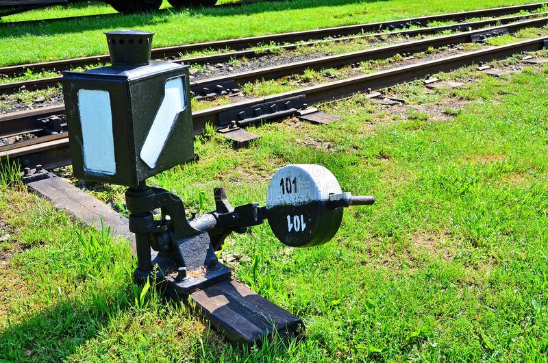 Railroad switch. Old railroad switch in railroad open-air museum stock photography