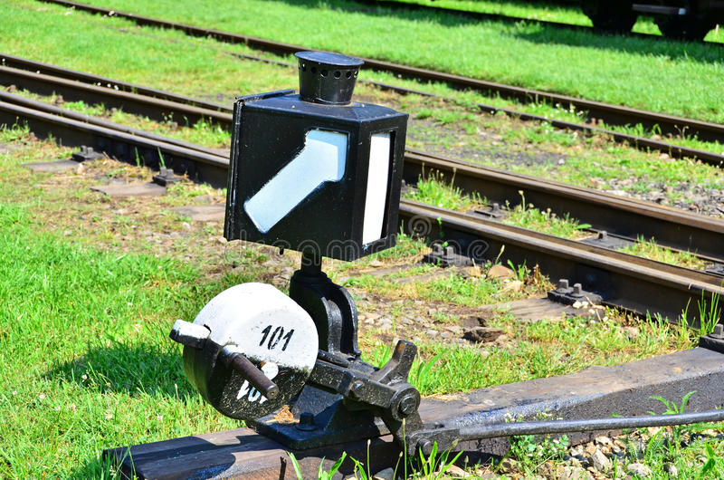Railroad switch. Old railroad switch in railroad open-air museum royalty free stock photos
