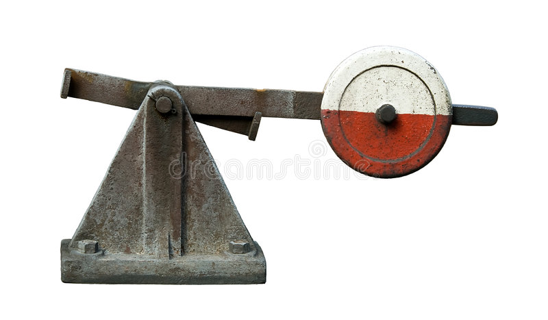 Railroad switch. Old railroad switch with clipping path royalty free stock image