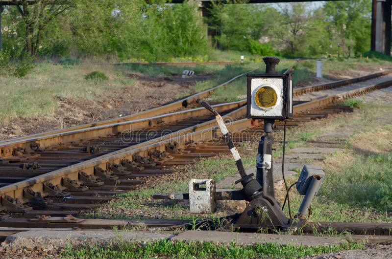Railroad switch. Old manual on the road royalty free stock photography