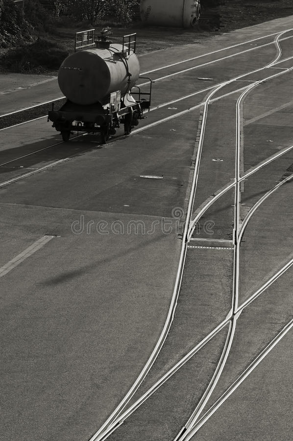 Railroad tank car. A railroad tank car at a factory plant stock images