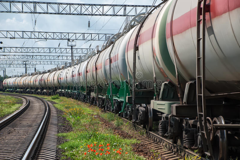 Railroad tank car. In a row stock images
