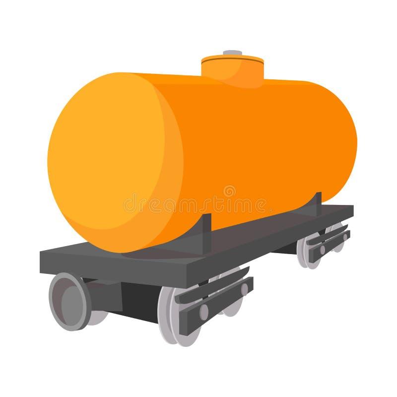 Railroad tank car cartoon icon. On a white background stock illustration