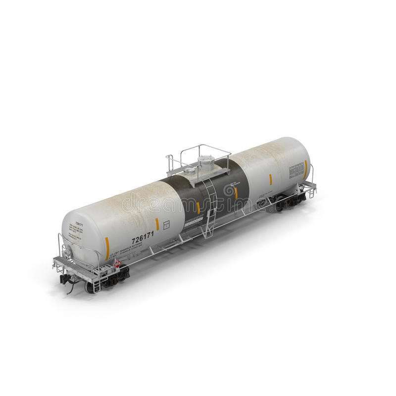 Railroad tank car isolated on white 3D illustration. Railroad tank car isolated on white background 3D illustration royalty free stock photo