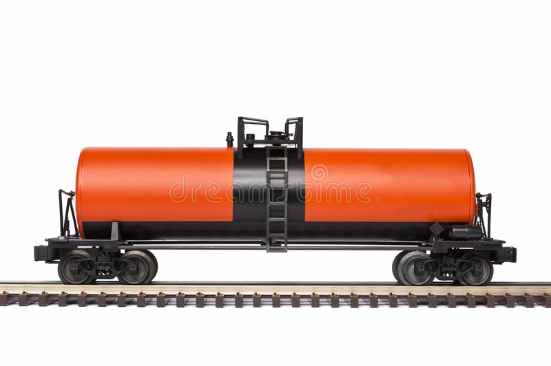 Railroad Tank Car. An orange and black railroad tank car stock images